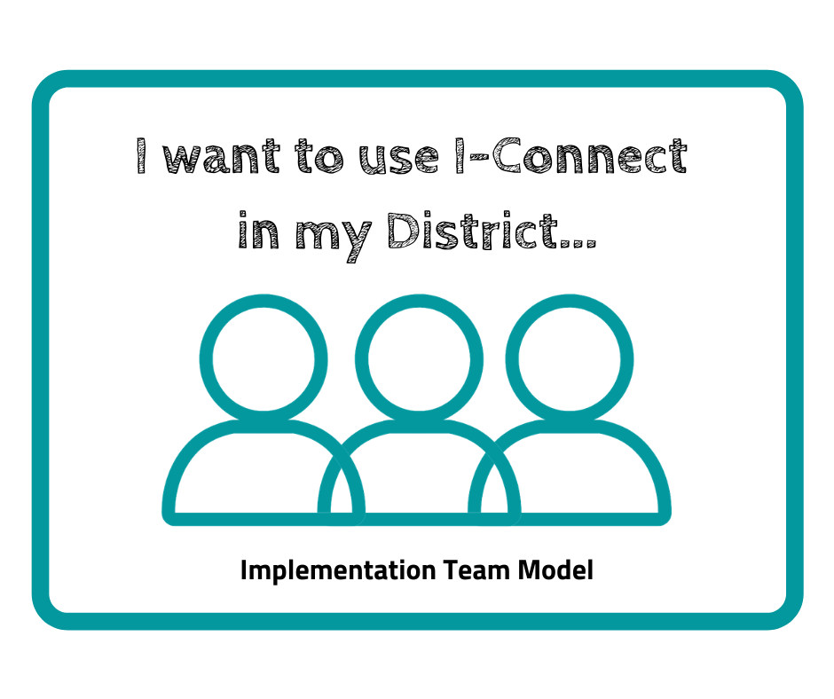 """This image reads; """"I want to use I-Connect in my district... Implementation Team Model"""" it has 3 human symbol in teal"""